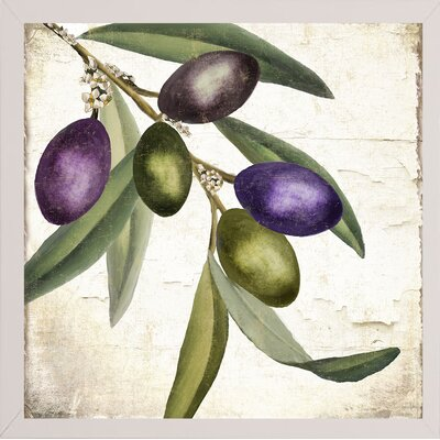 'Olive Branch I' Graphic Art Print Format: White Medium Framed