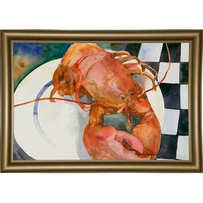 'Lobster' Framed Graphic Art Print Format: Bistro Gold Framed