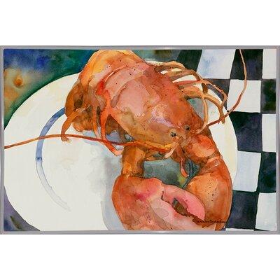 'Lobster' Framed Graphic Art Print Format: Metal White Framed