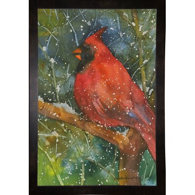 'Perched Cardinal' Framed Graphic Art Print Format: Black Medium Framed