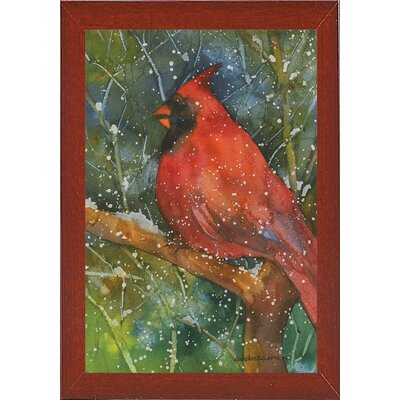 'Perched Cardinal' Framed Graphic Art Print Format: Red Mahogany Medium Framed