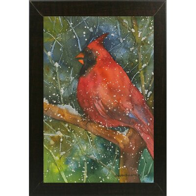 'Perched Cardinal' Framed Graphic Art Print Format: Brazilian Walnut Medium Framed