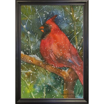 'Perched Cardinal' Framed Graphic Art Print Format: Black Grande Framed