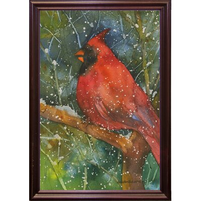 'Perched Cardinal' Framed Graphic Art Print Format: Cherry Grande Framed