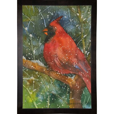 'Perched Cardinal' Framed Graphic Art Print Format: Cafe Espresso Framed