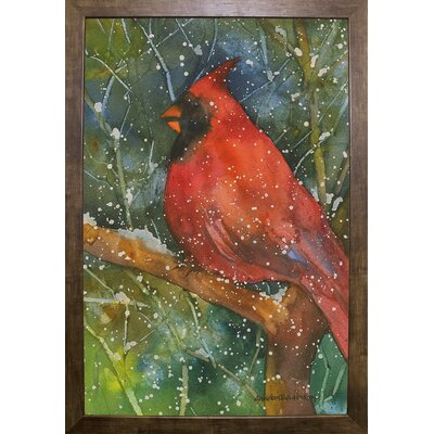 'Perched Cardinal' Framed Graphic Art Print Format: Cafe Mocha Framed