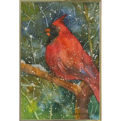 'Perched Cardinal' Framed Graphic Art Print Format: Metal Gold Framed