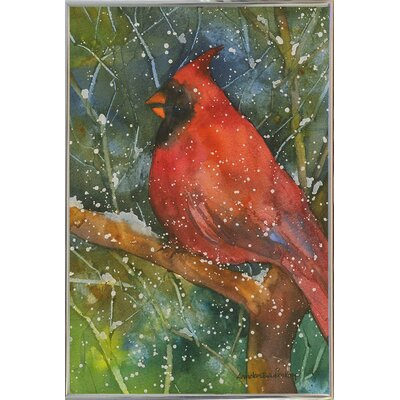 'Perched Cardinal' Framed Graphic Art Print Format: Metal Silver Framed