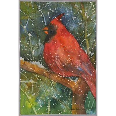 'Perched Cardinal' Framed Graphic Art Print Format: Metal White Framed