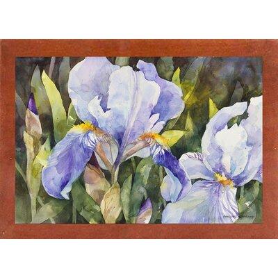 'Purple Iris Closeup' Framed Graphic Art Print Format: Canadian Walnut Medium Framed