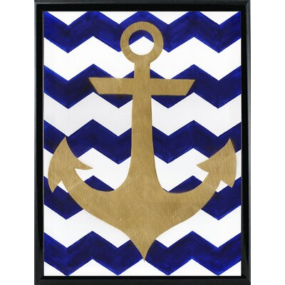 'Chevron Anchor' Print Format: Metal Black Framed