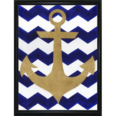 'Chevron Anchor' Print Format: Metal Flat Black Framed