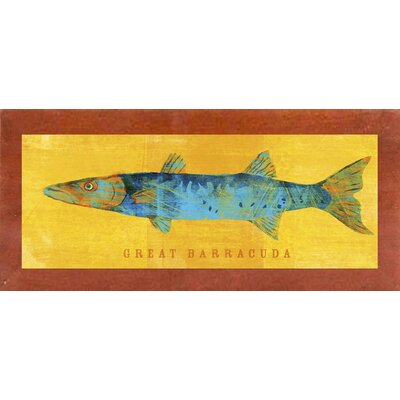 'Great Barracuda' Graphic Art Print Format: Affordable Canadian Walnut Medium Framed Paper, Size: 9.5