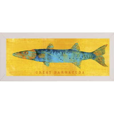 'Great Barracuda' Graphic Art Print Format: Affordable White Medium Framed Paper, Size: 9.5