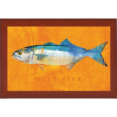 'Bluefish' Graphic Art Print Format: Affordable Red Mahogany Medium Framed Paper, Size: 12