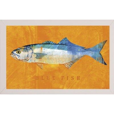 'Bluefish' Graphic Art Print Format: Affordable White Medium Framed Paper, Size: 12