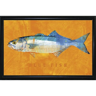 'Bluefish' Graphic Art Print Format: Flat Black Metal Framed Paper, Size: 12