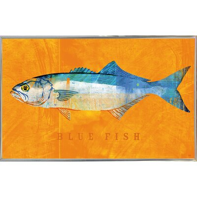 'Bluefish' Graphic Art Print Format: Silver Metal Framed Paper, Size: 12
