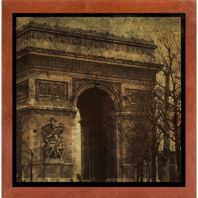 'Arc de Triomphe' Graphic Art Print Format: Affordable Canadian Walnut Medium Framed Paper, Size: 15.75