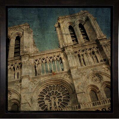 'Notre Dame' Graphic Art Print Format: Affordable Black Medium Framed Paper, Size: 6