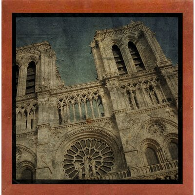 'Notre Dame' Graphic Art Print Format: Affordable Canadian Walnut Medium Framed Paper, Size: 6