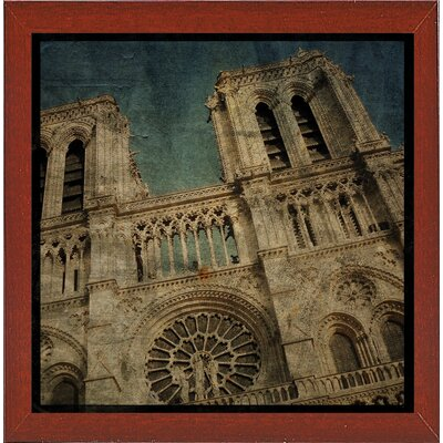 'Notre Dame' Graphic Art Print Format: Affordable Red Mahogany Medium Framed Paper, Size: 6