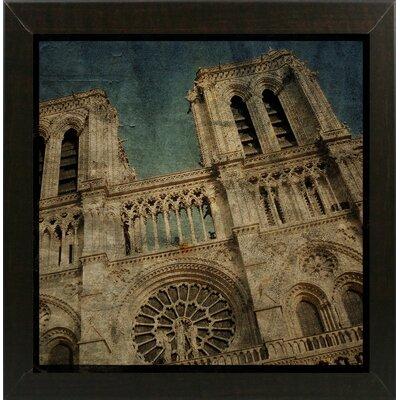 'Notre Dame' Graphic Art Print Format: Affordable Brazilian Walnut Medium Framed Paper, Size: 6