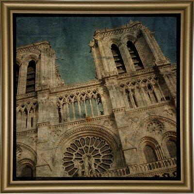 'Notre Dame' Graphic Art Print Format: Bistro Gold Framed Paper, Size: 6