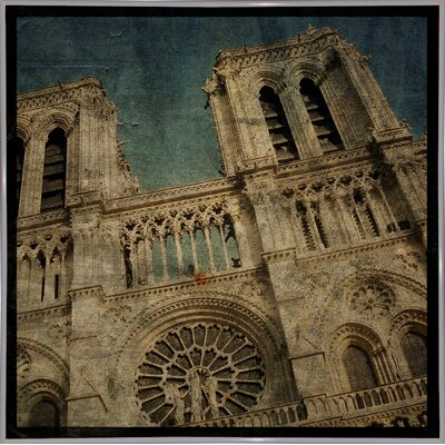 'Notre Dame' Graphic Art Print Format: White Metal Framed Paper, Size: 6