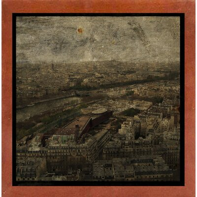 'Paris Skyline I' Graphic Art Print Format: Affordable Canadian Walnut Medium Framed Paper, Size: 6