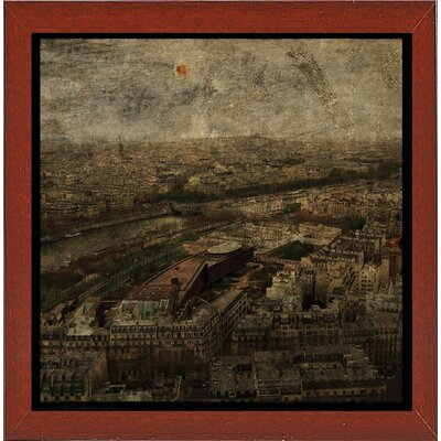 'Paris Skyline I' Graphic Art Print Format: Affordable Red Mahogany Medium Framed Paper, Size: 6