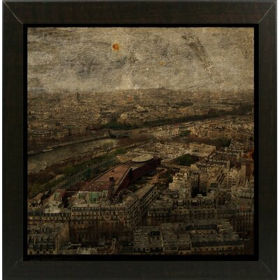 'Paris Skyline I' Graphic Art Print Format: Affordable Brazilian Walnut Medium Framed Paper, Size: 6