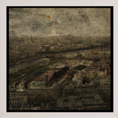 'Paris Skyline I' Graphic Art Print Format: Affordable White Medium Framed Paper, Size: 6