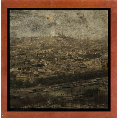'Paris Skyline II' Graphic Art Print Format: Affordable Canadian Walnut Medium Framed Paper, Size: 6