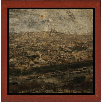 'Paris Skyline II' Graphic Art Print Format: Affordable Red Mahogany Medium Framed Paper, Size: 6