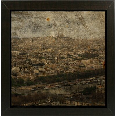 'Paris Skyline II' Graphic Art Print Format: Affordable Brazilian Walnut Medium Framed Paper, Size: 6