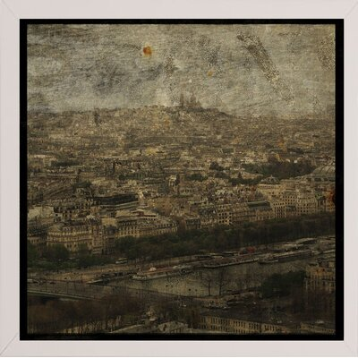 'Paris Skyline II' Graphic Art Print Format: Affordable White Medium Framed Paper, Size: 6