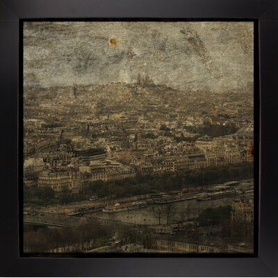 'Paris Skyline II' Graphic Art Print Format: Affordable Black Large Framed Paper, Size: 6