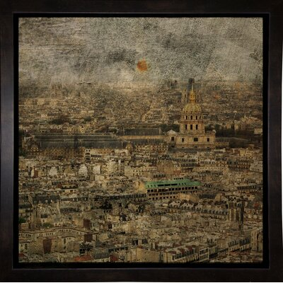 'Paris Skyline III' Graphic Art Print Format: Affordable Black Medium Framed Paper, Size: 6