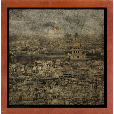 'Paris Skyline III' Graphic Art Print Format: Affordable Canadian Walnut Medium Framed Paper, Size: 6