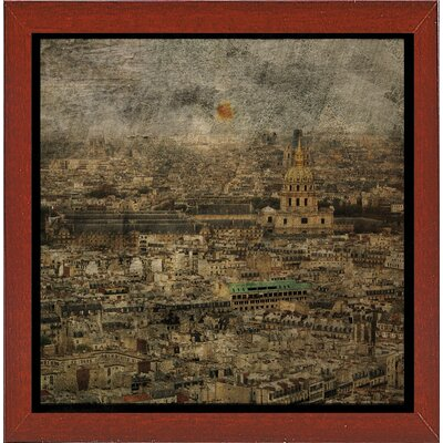 'Paris Skyline III' Graphic Art Print Format: Affordable Red Mahogany Medium Framed Paper, Size: 6