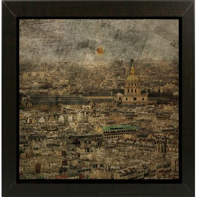 'Paris Skyline III' Graphic Art Print Format: Affordable Brazilian Walnut Medium Framed Paper, Size: 6