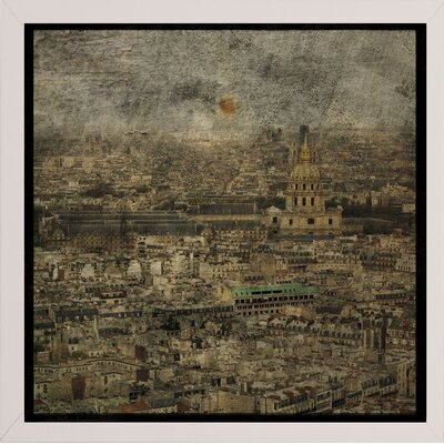 'Paris Skyline III' Graphic Art Print Format: Affordable White Medium Framed Paper, Size: 6