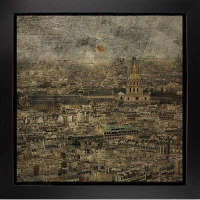 'Paris Skyline III' Graphic Art Print Format: Affordable Black Large Framed Paper, Size: 6