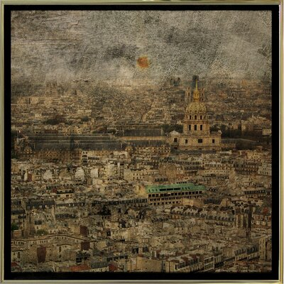 'Paris Skyline III' Graphic Art Print Format: Gold Metal Framed Paper, Size: 6