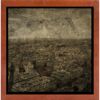 'Paris Skyline IV' Graphic Art Print Format: Affordable Canadian Walnut Medium Framed Paper, Size: 6