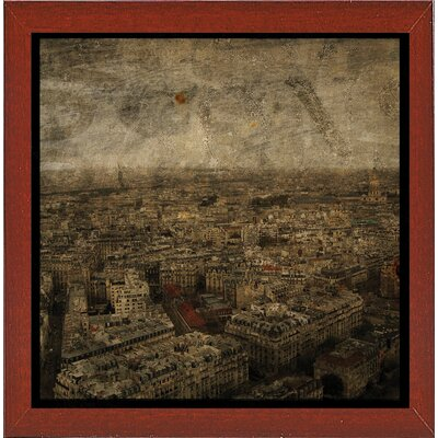 'Paris Skyline IV' Graphic Art Print Format: Affordable Red Mahogany Medium Framed Paper, Size: 6