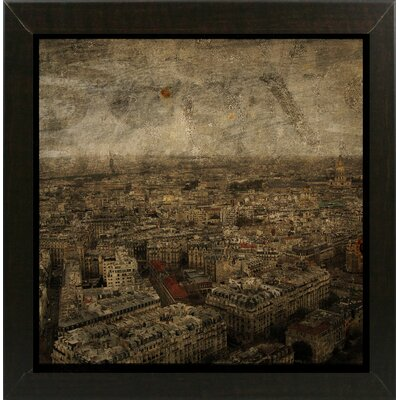 'Paris Skyline IV' Graphic Art Print Format: Affordable Brazilian Walnut Medium Framed Paper, Size: 6