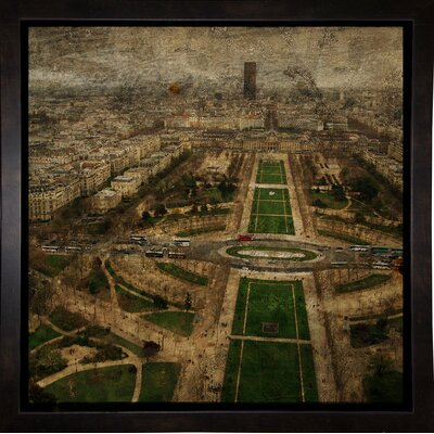 'Paris Skyline V' Graphic Art Print Format: Affordable Black Medium Framed Paper, Size: 6