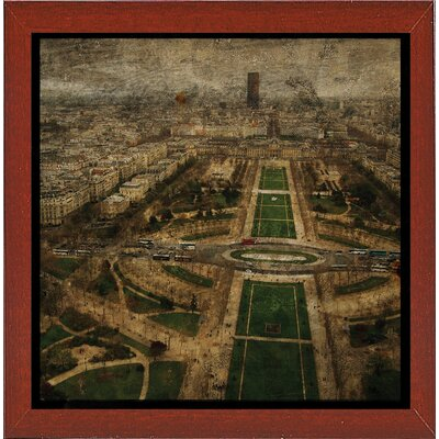 'Paris Skyline V' Graphic Art Print Format: Affordable Red Mahogany Medium Framed Paper, Size: 6